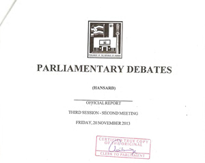 The Anti homosexuality Bill Hansard Certified copy